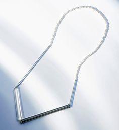 Kazuko Mitsushima Necklace: untitled, 2015 glass, pearl, silver Single piece