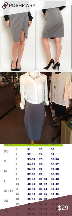 Gray Career Skirt This pretty skirt features front opening. Back zipper closure. Non lined. Great fall piece! 72% Polyester 25% Rayon, 3% Spandex (This closet does not trade or use PayPal) Have Skirts Midi