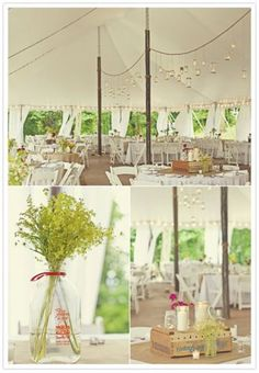 Love the tent & jar lights --- The Natural Wedding Company blog / wildflowers
