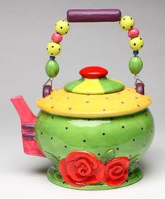 Green & Yellow Teapot by Sugar High Social #zulily #zulilyfinds