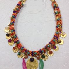 Colorful Natural Stone Necklace by otantikcollection on Etsy
