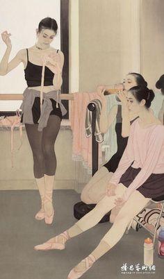 Há algum tempo publicamos em nosso Tumblr ilustrações do artista chinês He Jiaying e achamos que seu trabalho vale uma observação maior. Mestre na pintura Gongbi, técnica realista dentro da pintura chinesa, ele pinta lindas mulheres e dá a elas expressões de emoções e de humanidade. Elas parecem pensar, chorar, refletir e estão sozinhas mesmo quando em companhia, olhando longe através de uma janela ou apenas para um ponto não específico. É o caso das bailarinas, pinturas lindíssimas, com um…