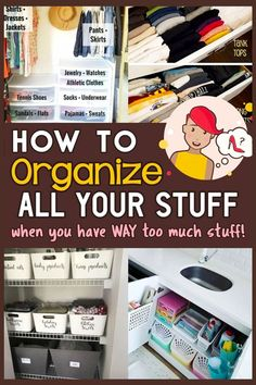How to Declutter Your Home - Does the idea of decluttering and organizing ALL your STUFF have you feeling overwhelmed? Me too! These easy storage and organization ideas for the home WILL get rid of clutter to be clutter free and help you get organized at home even on a budget. From: 50+ Easy Organization Ideas For YOUR Home To Organize ALL Your Stuff Hall Closet Organization, Diy Organization, Organizing Ideas, Household Organization, Organizing Clutter, Organizing Walk In Closet, Storage Organizers, Decluttering Ideas, Cleaning Closet