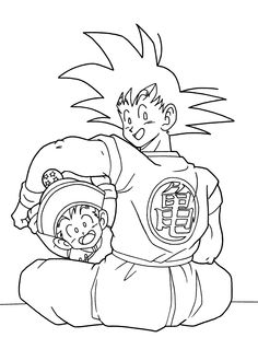 dragon ball anime goku and gohan coloring pages for kids printable free