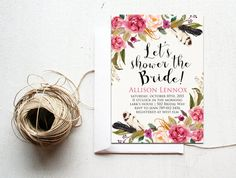 Printable Bridal Shower Invitation, Boho Chic Feathers, Bohemian Bachelorette Party Baby Shower the Bride, Floral Summer Shower Fall Wedding