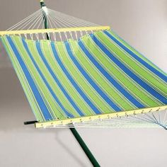 2 Person 11'  Fabric Hammock, Green and Blue Stripe
