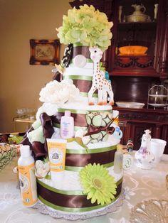 Custom Designed POSH Diaper Cake. $350.00, via Etsy. #babyshower #diapercake