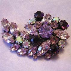 Sizzling Shades Of Purple Brilliant Rhinestones Pin / Brooch
