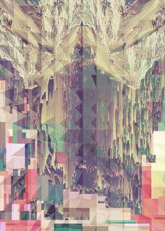 digitally collaged print - glitch mountains, pattern, geometric