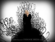 Fishook Dress Black, Chambre du Chocolat Couture by Eshi Otawara