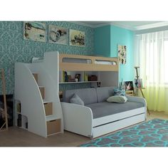 Gautreau Twin Bunk Bed over Full XL Sofa Bed, Table and Trundle Bunk Beds For Girls Room, Childrens Bunk Beds, Adult Bunk Beds, Kids Bunk Beds, Futon Bunk Bed, Bunk Bed With Trundle, Twin Bunk Beds, Twin Futon, Modern Bunk Beds