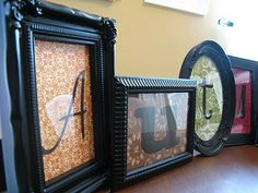 spray painted dollar tree frames with scrapbook paper  could be any word :) crafty-things