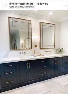 Black Bathtub, Navy Cabinets, Bathroom Vanity Decor, Double Vanity, Hardware, Computer Hardware, Double Sink Vanity