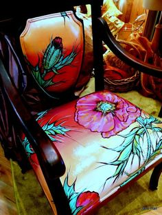 Hand Made Hand Painted Upholstered Chairs And Ottoman by Jane Hall The Voice Of Style | CustomMade.com