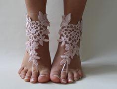 dentelle rose, pieds nus, sandales dentelle française, chaussures nude,, Bijoux de pied, de mariage, dentelle victorienne Yoga