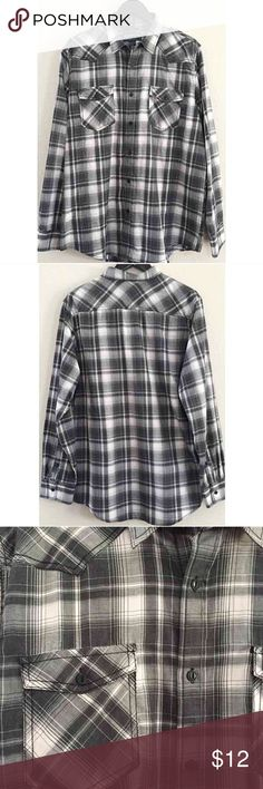 Men's Plaid Button Down Shirt Black & white plaid long sleeve button down.   In great condition- no holes or stains. 55% cotton, 45% polyester. American Apparel Shirts Casual Button Down Shirts