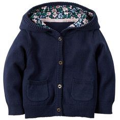 Baby Girl Carter's Hooded Cardigan, Size: NEWBORN, Blue (64 BRL) ❤ liked on Polyvore featuring blue