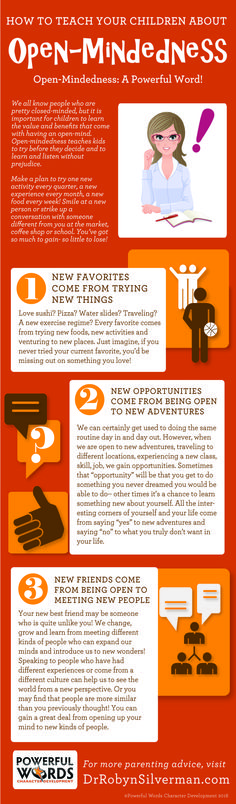 How to Teach Your Child About Open-Mindedness | Powerful Words Character Development | Infographic