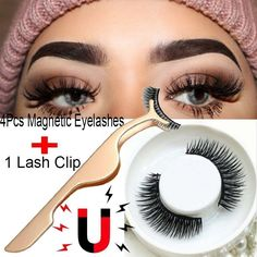 b988e863f47 4pcs 3D Magnetic False Eyelashes Natural Eye Lashes Extension with Tweezer  US Natural Lashes, Toddlers