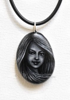 #Original #miniature #painted #stone #pendant . #Girl #portrait #painting on stone. Great #gift #idea for fantasy and #art lovers!