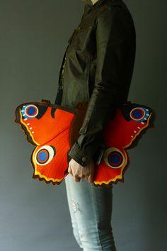 Butterfly Felt Bag Orange Felt Purse by krukrustudio on Etsy