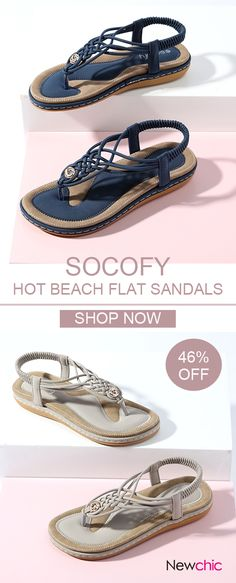 Lostisy SOCOFY Knitting Clip Toe Elastic Flat Sandals is comfortable to wear. Shop on NewChic to see other cheap women sandals on sale. Buy Shoes, Slip On Shoes, Me Too Shoes, Women's Shoes, Flat Shoes, Golf Shoes, Sandals For Sale, Flat Sandals, Mary Jane Shoes
