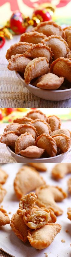 Peanut Puffs - sweet ground peanut wrapped with crispy pastry shell. Deep-fried to golden brown, so addictive and yummy. Chinese Desserts, Asian Desserts, Chinese Recipes, Fun Desserts, Dessert Recipes, Malaysian Recipes, Malaysian Food, Nut Recipes, Cooking Recipes