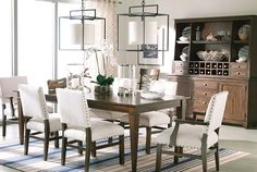 Christopher Dining Table for Breakfast area - like this finish | Ethan Allen