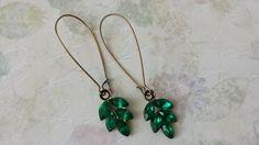 Emerald Crystal Earrings  Vintage Inspired by ArtistInJewelry