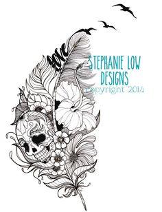 Illustration de tatouage Crâne de sucre par StephanieLowCreative