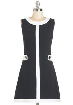 Lunching in London Dress. A day out in the epicenter of England calls for a vintage-inspired look, like this two-toned shift dress by Mademoiselle YY. #black #modcloth