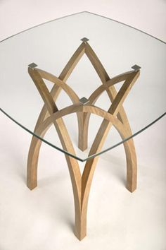 Contemporary oak table design glass top