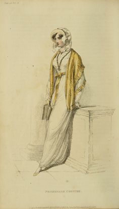 Bonnet with upturned brim and short ribbons, matching cape, sash, and shoes, England, 1812