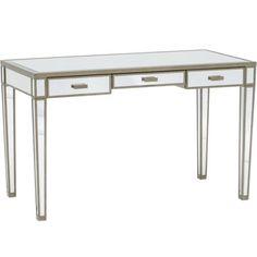 Vivien Mirror Desk, Antique Silver