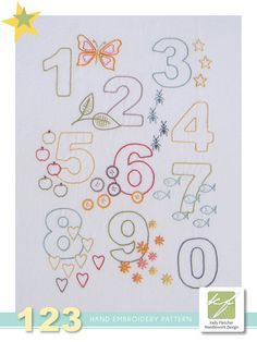 123 numbers hand embroidery pattern by KFNeedleworkDesign on Etsy