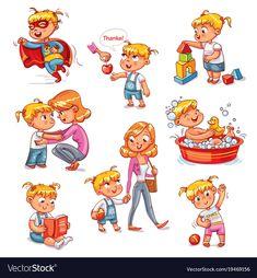 Cartoon kid daily routine activities set vector image on VectorStock Kids Routine Chart, Daily Routine Activities, Daily Routine Schedule, Kids Schedule, Activities For Kids, Daily Routine Kids, Funny Cartoons For Kids, Funny Cartoon Characters, Cartoon Kids