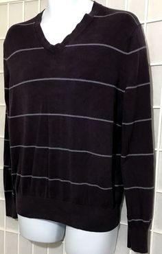 fa1482a1d7 Banana Republic Sweater Silk Cashmere Size L Luxury Blend Stripe Purple V  Neck  BananaRepublic