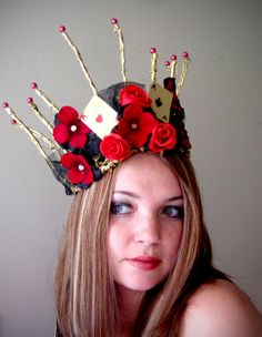 Red Queen Gold Crown - Alice In Wonderland Costume - Halloween Tiara Headpiece. $75.00, via Etsy.