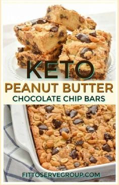 Chocolate Chip Bars, Keto Chocolate Chip Cookies, Sugar Free Chocolate Chips, Peanut Butter Chocolate Bars, Low Carb Sweets, Low Carb Desserts, Low Carb Recipes, Healthy Recipes, Diabetic Recipes
