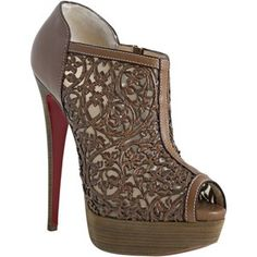 Christian Louboutin cognac leather 'Pampas 150' laser cut peeptoe booties