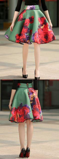 Green Floral Print Bubble Skater Skirt
