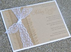 Burlap and Lace - Wedding or Shower Invitations - Country Chic on Etsy, $3.95