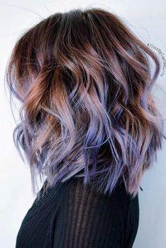 Purple Ombre Hair Color Ideas Lob Haircut with Tick Hair - Trendy Hair Color Designs for women and Girs!Lob Haircut with Tick Hair - Trendy Hair Color Designs for women and Girs! Pastel Purple Hair, Purple Grey, Purple Ombre Hair Short, Short Colorful Hair, Purple Brown Hair, Periwinkle Hair, Dyed Hair Pastel, Short Ombre, Hair Color Purple