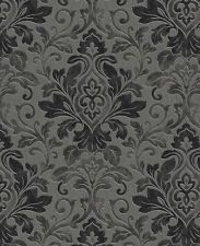 Mozart black and charcoal textured Wallpaper- Damask Wallpaper 10m