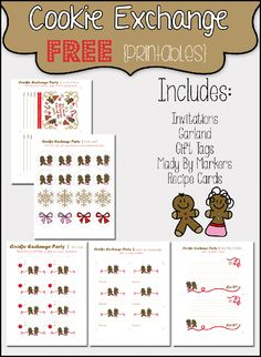 Love Christmas cookies? Host A Christmas Cookie Exchange Party with these FREE Printables from Growing Up Gabel #christmas #printable #cookie
