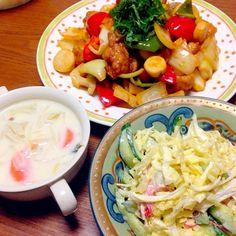 酢鶏美味しかったです! 輪切りにしたエリンギが美味しいと好評でした( ´ ▽ ` )ノ - 81件のもぐもぐ - 酢どり、味噌ミルクスープ、サラダ by rika9