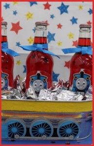 Cute idea for kid's juice drinks! Maybe even in red wagon on ice for them to grab...