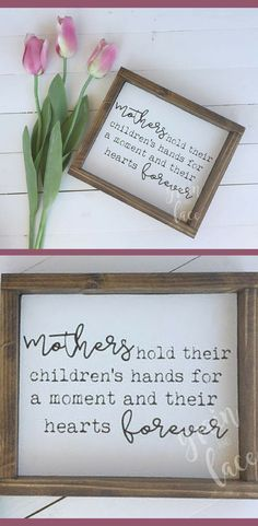 Mother Sign - Gift Idea for Mother, Gift for Mom, Baby Shower Gift Idea, Mother's Day Gift Idea, Mother's Day Sign, Framed Wood Sign, Mother's Love, Mom, Farmhouse Sign, Mother Holds Your Hand, Gifts for Mom, Gifts for Women, Rustic Decor, Family Gallery Wall, Farmhouse Fixer Upper Gallery Wall #ad