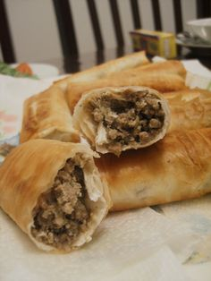 Iftar  (freshly fried Bourek) -  My mouth was instantly filled with the amazing flavor of delicious minced meat surrounded by layers and layers of delicious, crispy phyllo