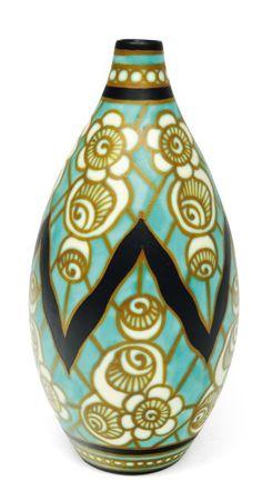 Charles Catteau Art Deco Vase - 1927 - Design by Léon Lambillotte and Léon Delfant - Boch Frères Keramis